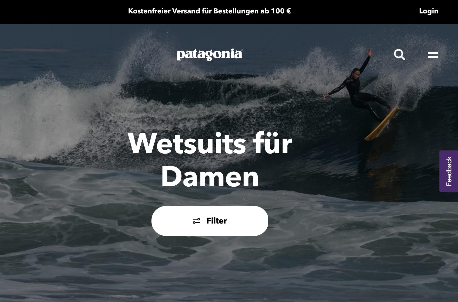 Patagonia Website mit Onlineshop für Wetsuits